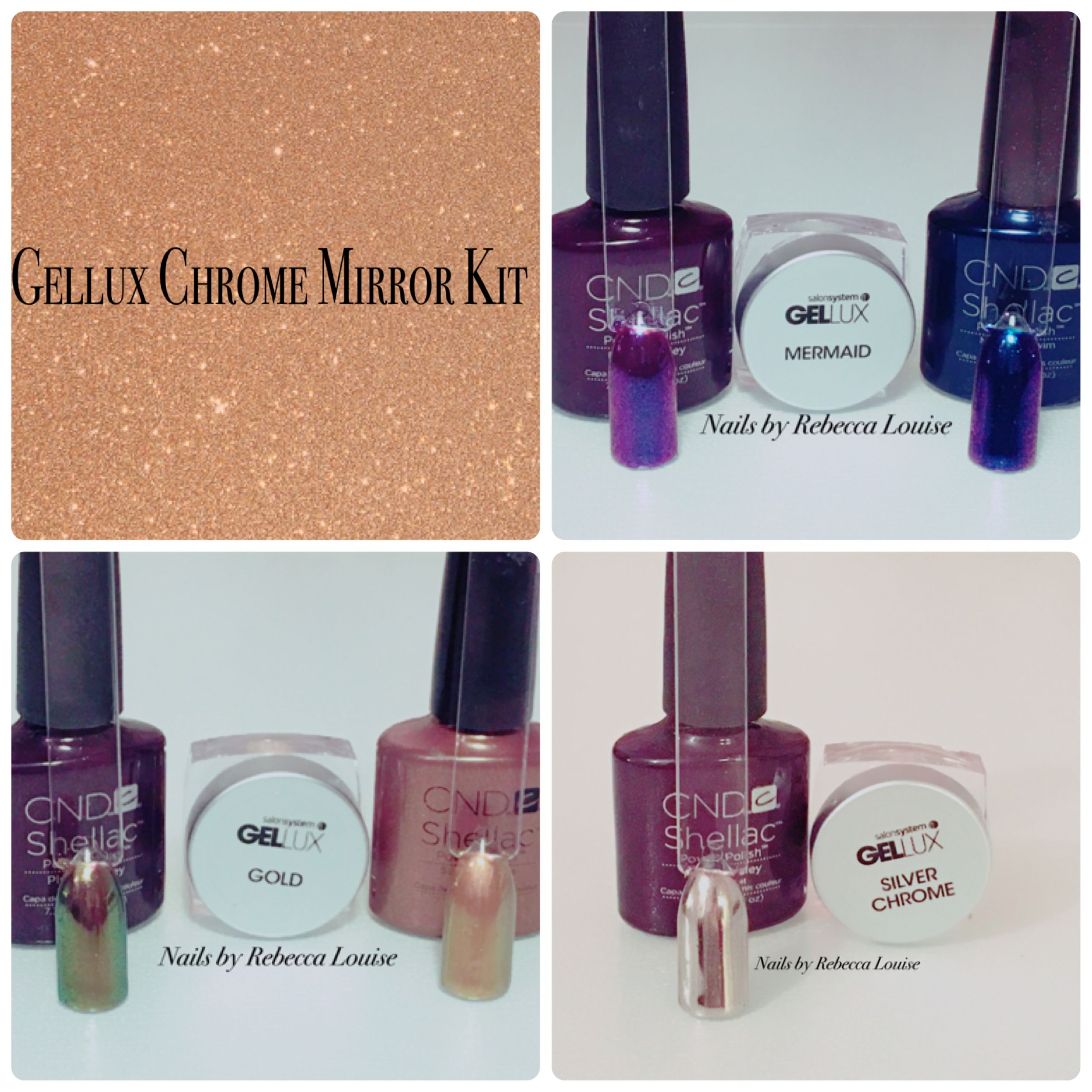 Gellux Chrome Mirror Kit Demo & Review on YouTube Nails by Rebecca ...