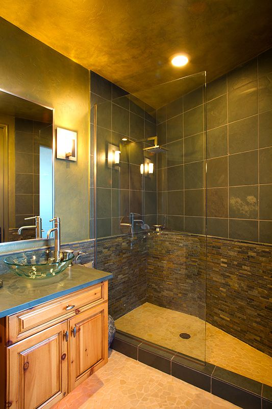 Bathroom Remodel Tucson Style pool bathroom remodel, cantilevered vanity cabinets, slate