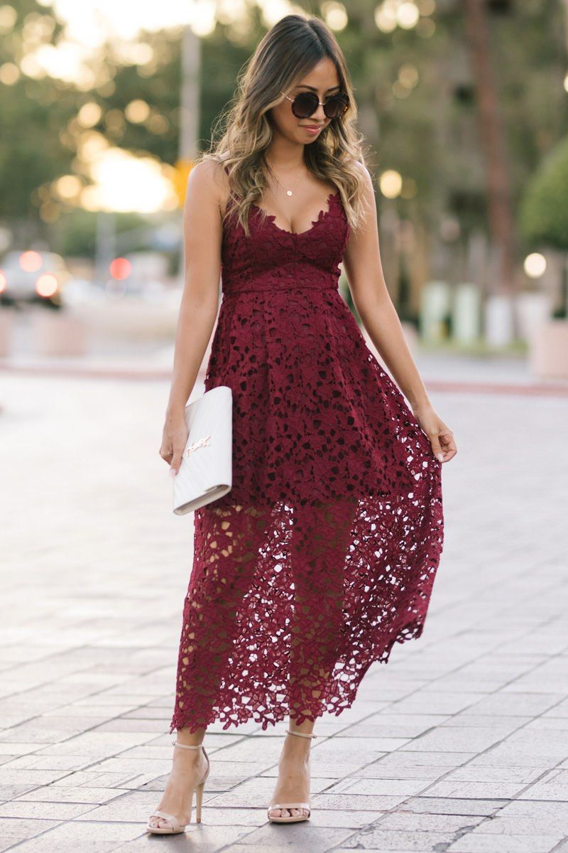 Lace And Locks Petite Fashion Blogger Lace Midi Dress Nordstrom Fall Fashion Fall Wedding Dre Lace Midi Dress Lace Burgundy Dress Wedding Guest Outfit Fall