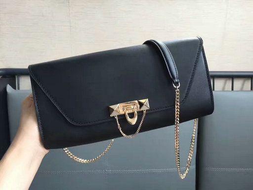 5e33659345 2017 New Valentino Garavani Demilune Clutch Bag in Black Leather ...