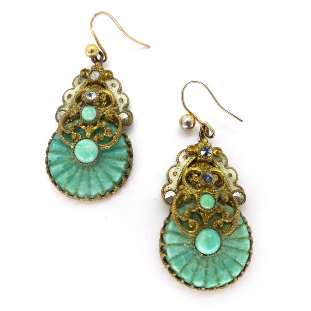 Vintage Czech Art Deco Neiger Wave Peking Glass Earrings | Clarice Jewellery | Vintage Costume Jewellery
