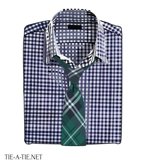 Great looking shirt and tie combo: Gingham shirt and tartan plaid necktie