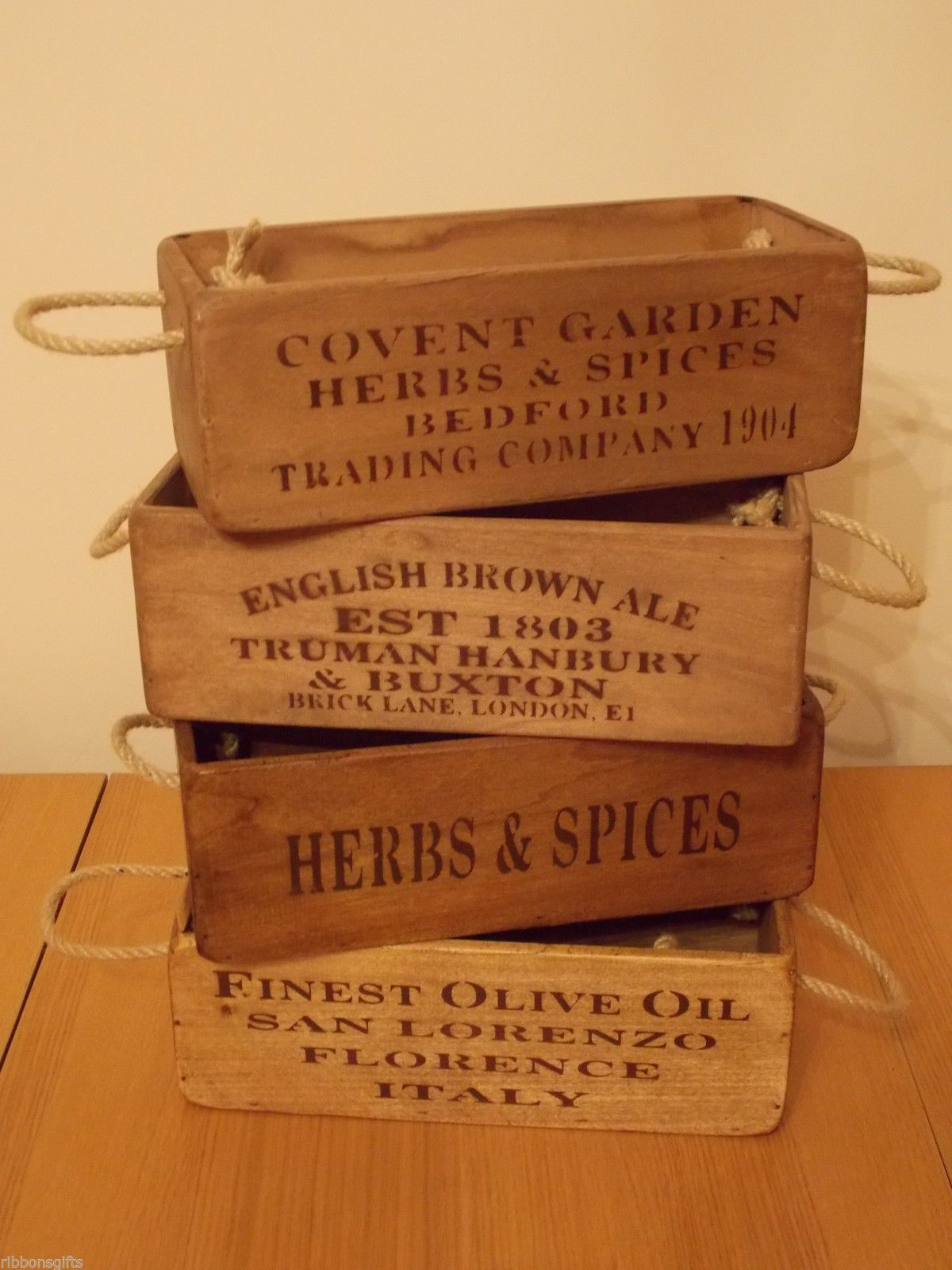 Rustic Antique Vintage Small Wooden Boxes Crates Shabby Trugs Kitchen