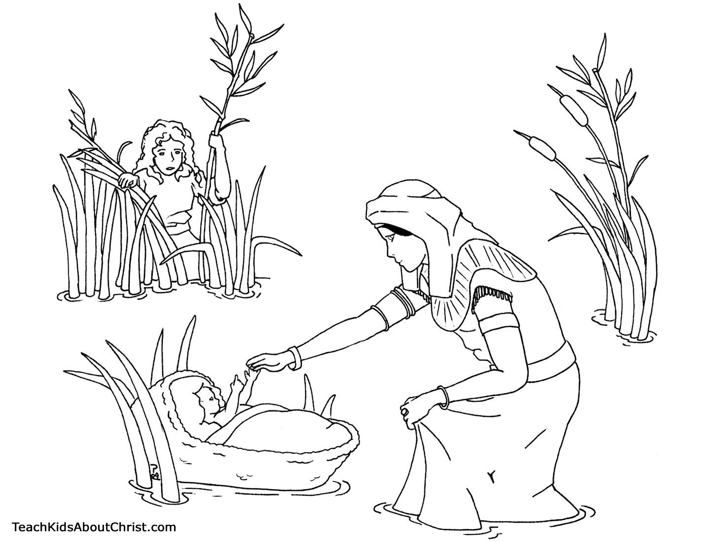Baby Moses in the reeds found by Pharaoh's daughter. Bible