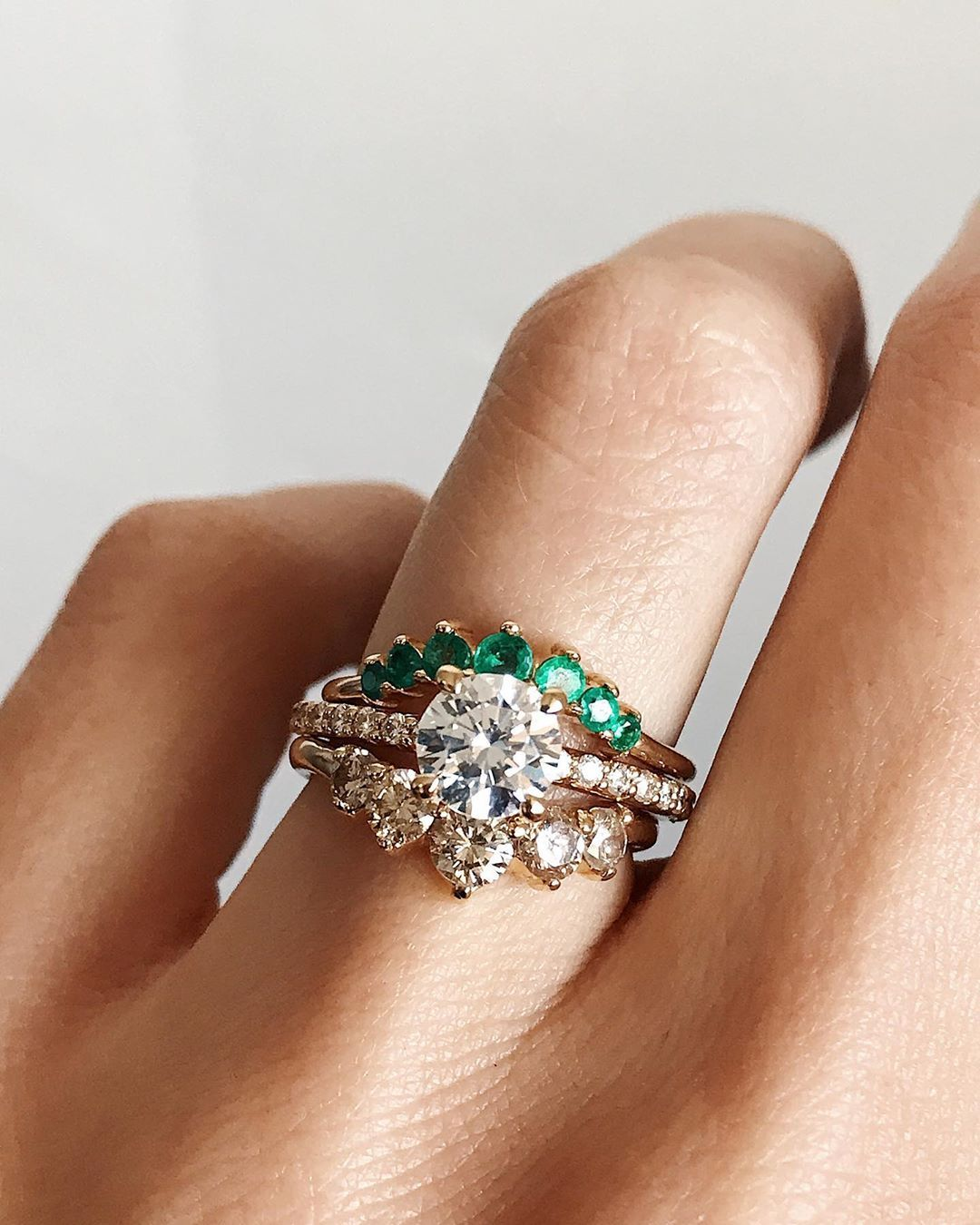 This is a graphic of Emerald Wedding Band Unique Stacking Wedding Bands Emerald