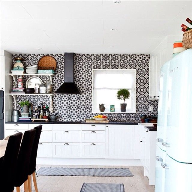 Black and white kitchen with handmade arabic cement tiles for Cement tiles for kitchen