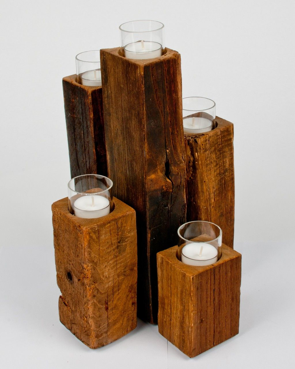 Unysn Elm Staggered Pillar 4x4 Wood Crafts Wood Candle Holders Diy Diy Wood Candles