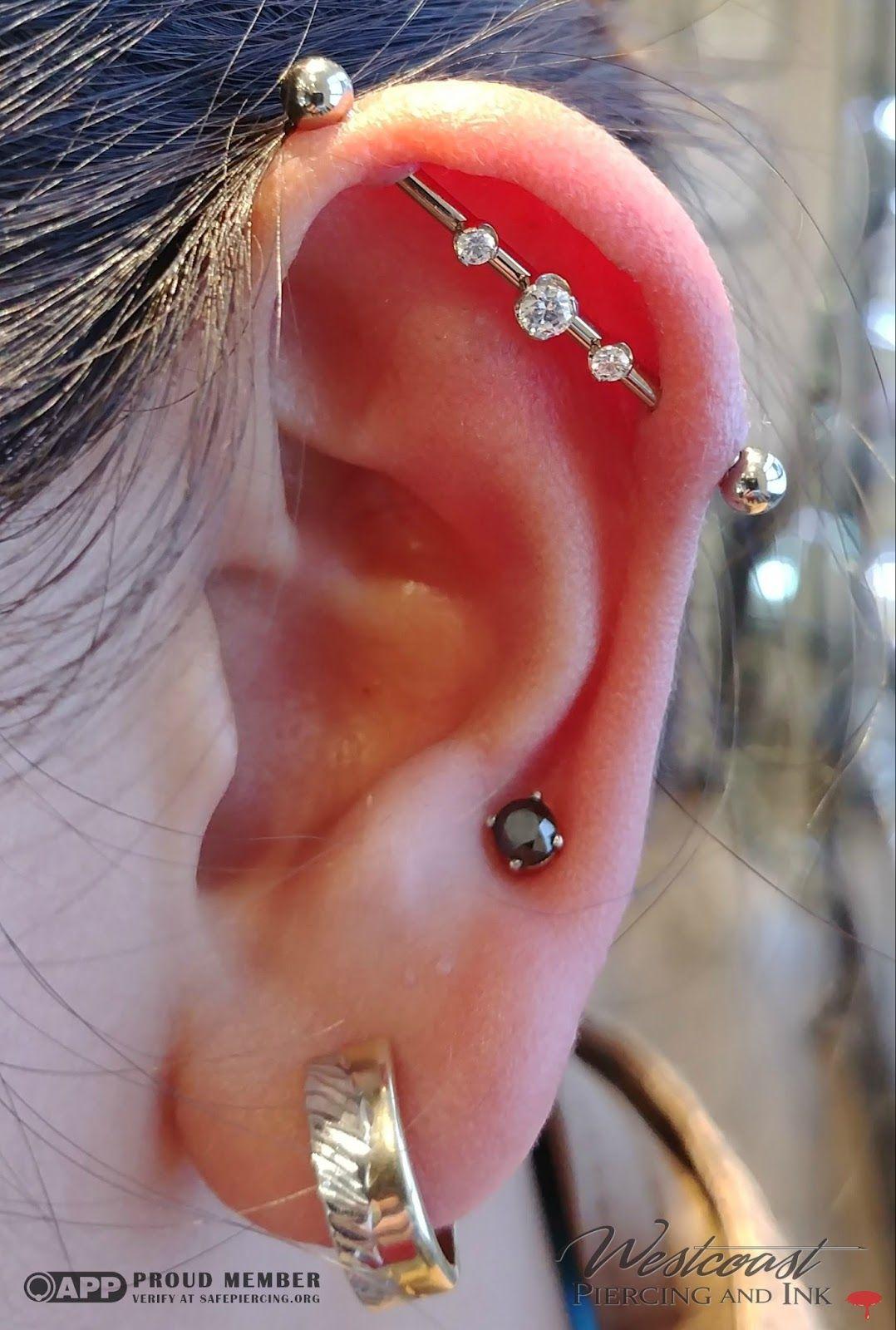Dermal piercing above lip  Custom made k White Gold Industrial by Anatometal  Earings