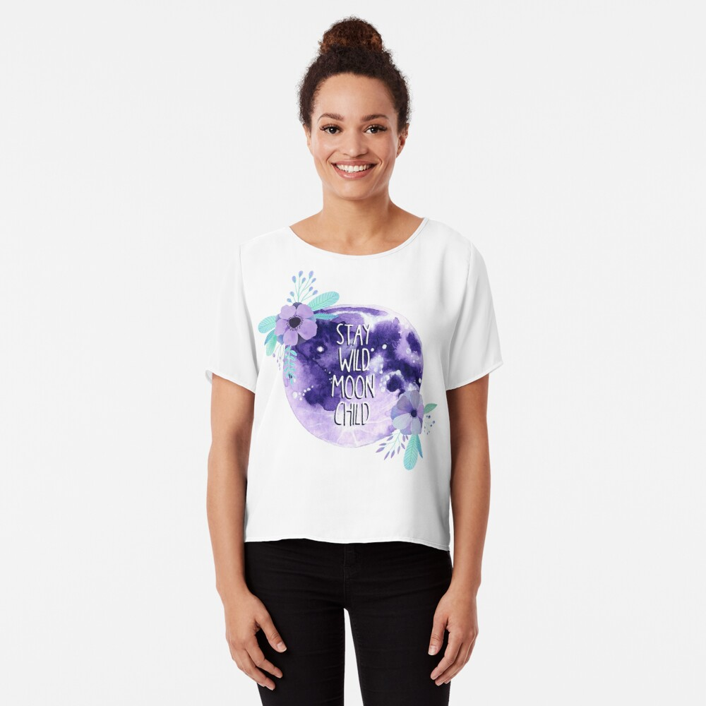'Stay Wild Moon Child Full Moon and Flowers' T-Shirt by Katie Thomas