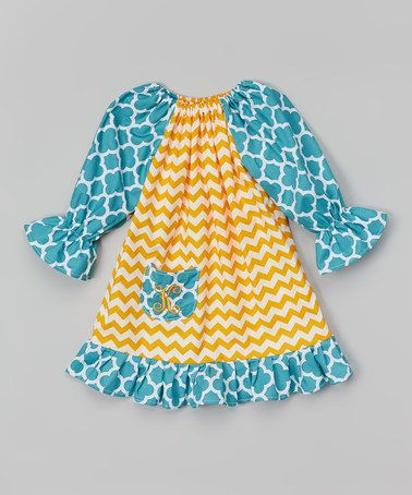Gold & Teal Chevron Initial Dress - Infant & Toddler by Caught Ya Lookin' #zulily #zulilyfinds