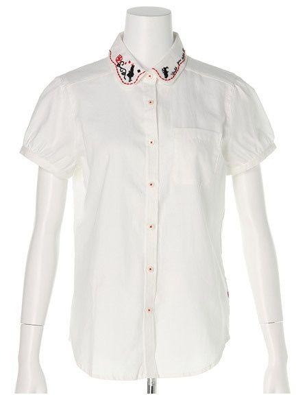 a.g.plus 刺繍カラーパフ袖シャツ