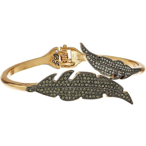 Betsey Johnson Crystal/Gold Feather Bypass Bracelet (Crystal) Bracelet ($33) ❤ liked on Polyvore featuring jewelry, bracelets, grey, gold bangles, antique gold charms, yellow gold charms, antique gold jewellery and antique gold bangles