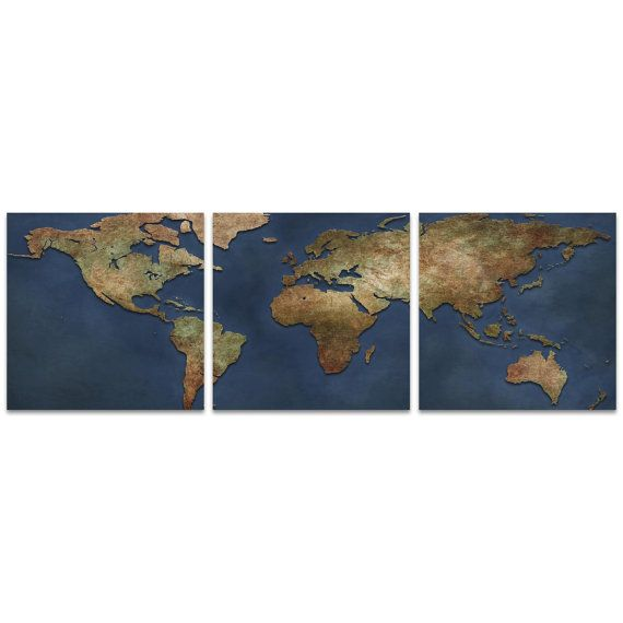World map art 1800s world map triptych large by ben judd cyber sale world map art 1800s world map triptych by moderncrowd gumiabroncs Image collections