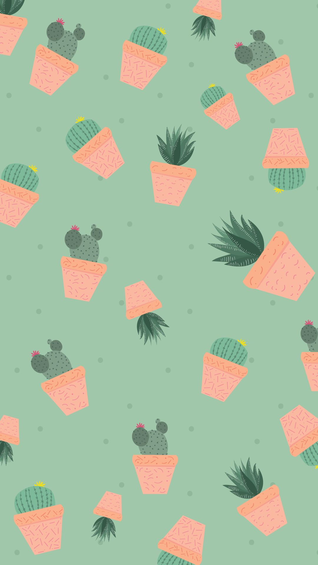 Free Wallpaper Pattern de Suculentas e Cactos