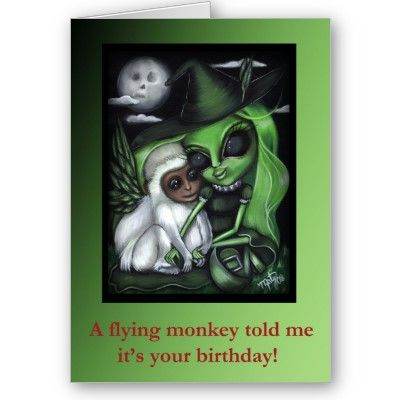 Wicked witch flying monkey wizard oz birthday card from httpwww wicked witch flying monkey wizard oz birthday card from httpzazzle bookmarktalkfo Image collections