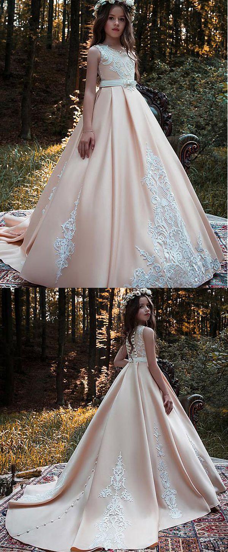 Stunning satin scoop neckline floorlength ball gown flower girl
