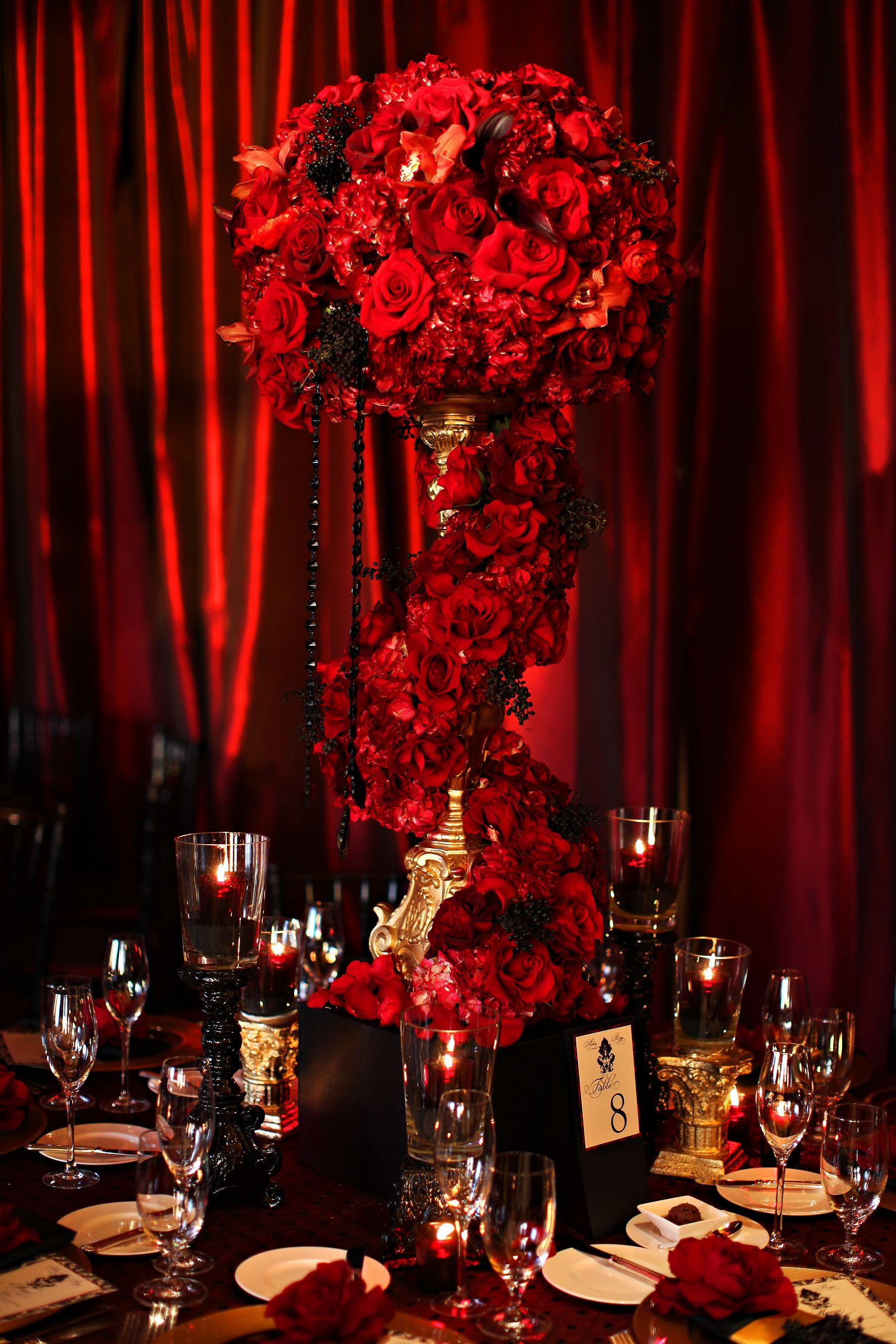 Red Reception Wedding Flowers Decor Flower Centerpiece Arrangement