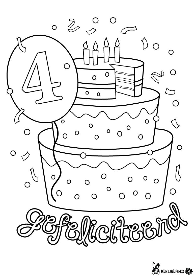 verjaardagstaart 4 jaar kleurland nl kleurplaten
