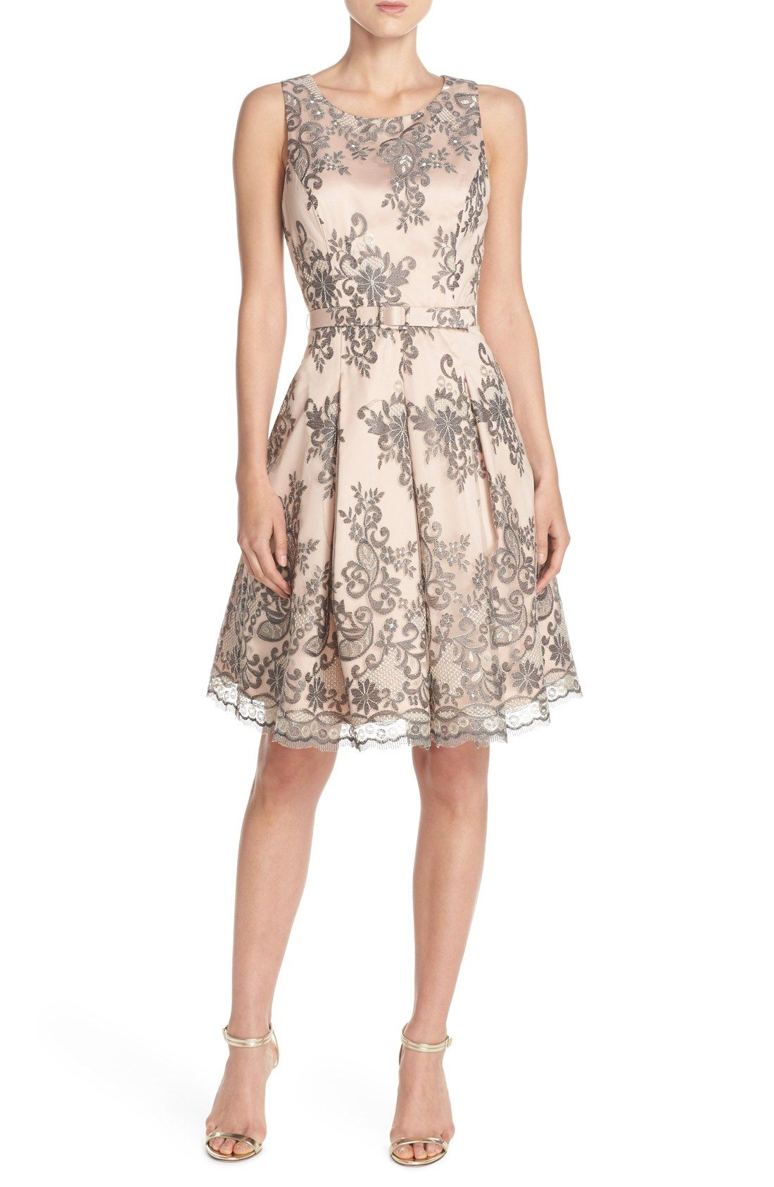 Eliza J Belted Embroidered Mesh Fit & Flare Dress | Lets Go Get ...
