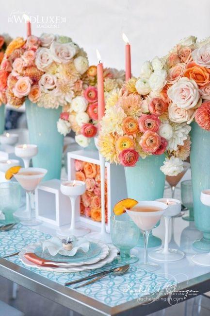 mariage bicolore turquoise et orange   Mariages   Déco mariage ...