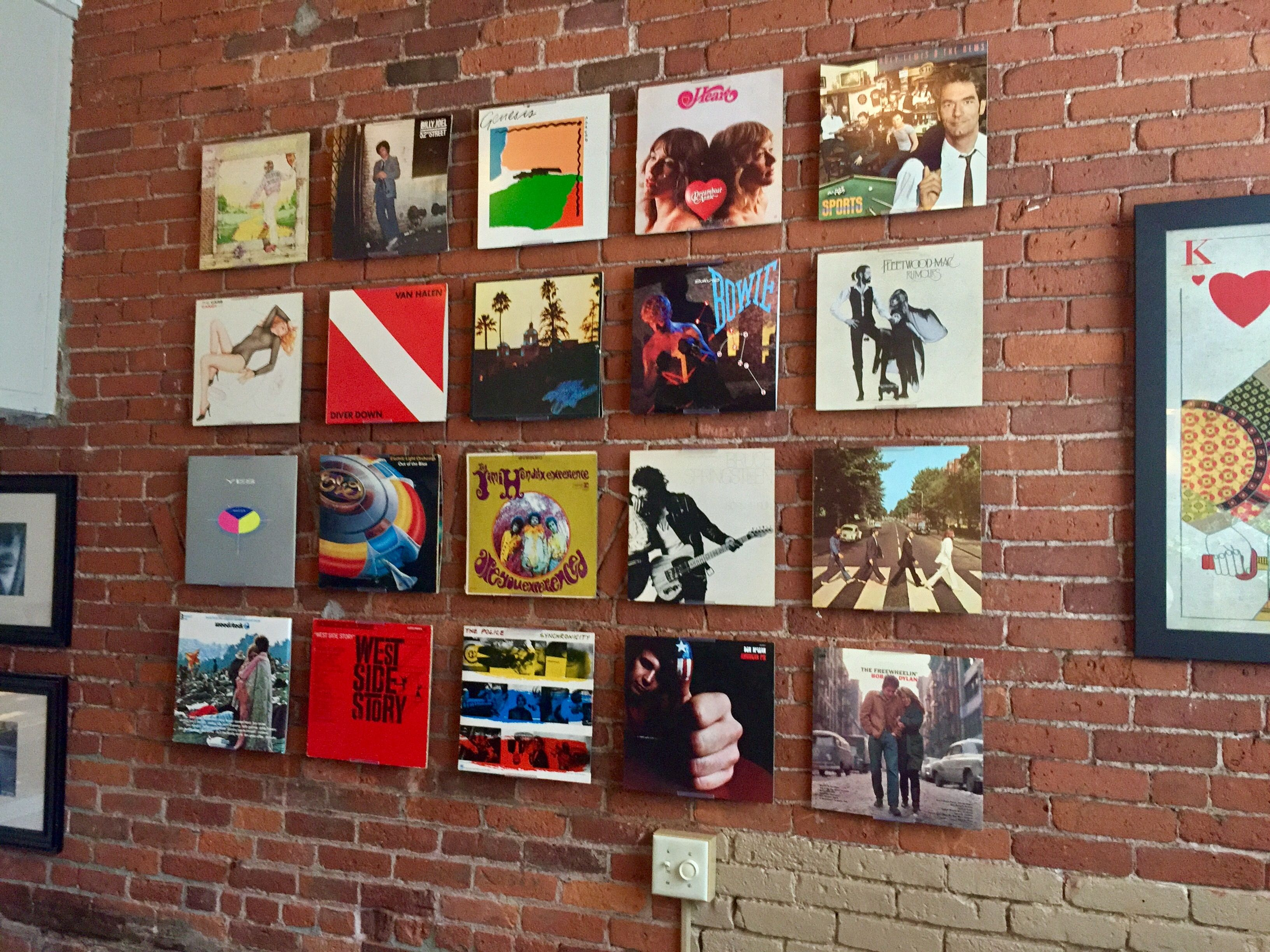 20 Record Albums On Wall Is A Great Way To Add Design To Your Home Albummount Allows You To Display Record Record Wall Art Record Wall Display Cafe Wall Art