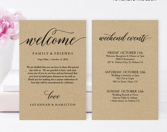 Wedding Welcome Bag Note Letter By Mintypaperie