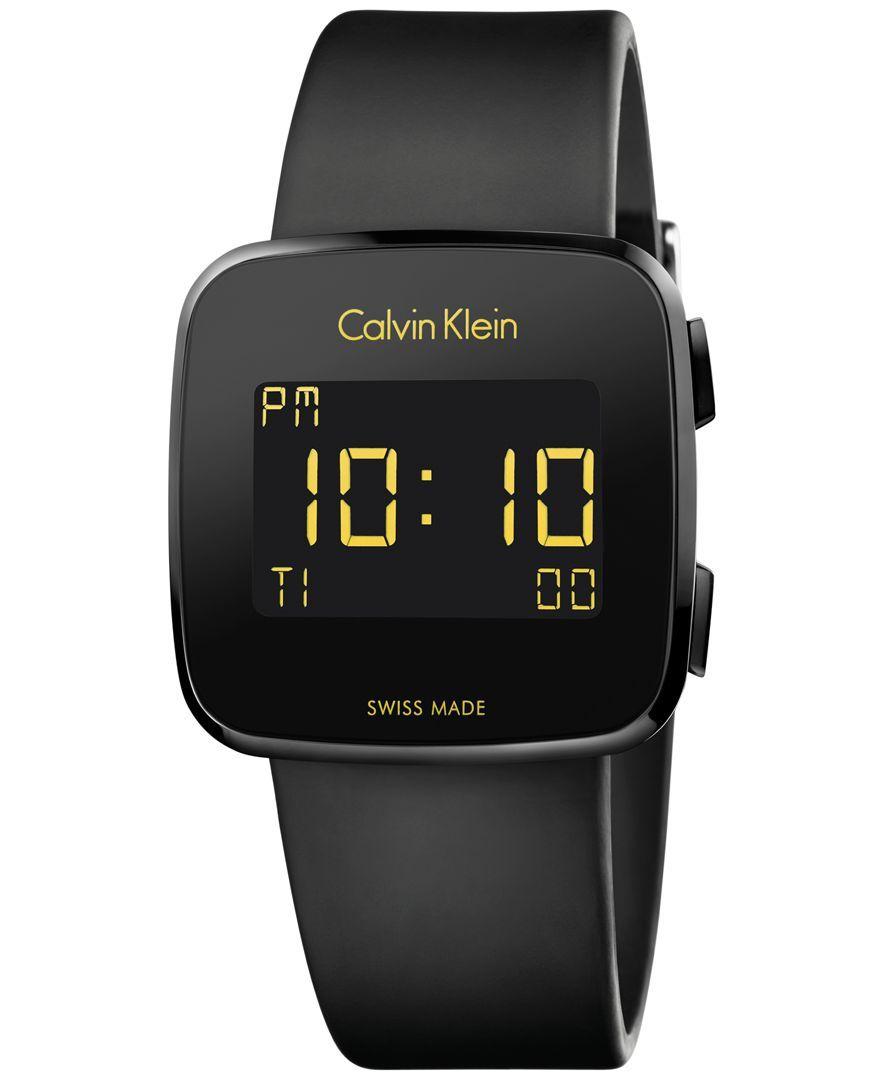 b5053d78cf4 Calvin Klein Men s Swiss Digital Future Black Rubber Strap Watch 39mm  K5C214D1