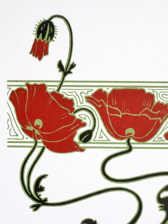 Art Nouveau Inspired California Poppy By Mason Larose: Art Nouveau : Red Poppies - Detail