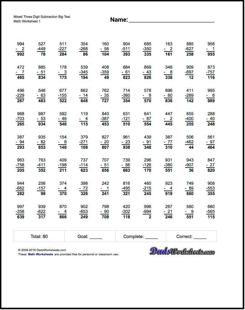 Subtraction Worksheets Full Borrowing Multiple Digit Subtraction Worksheets With A More Conventional Mix Of Prob Subtraction Worksheets Subtraction Worksheets [ 1025 x 810 Pixel ]