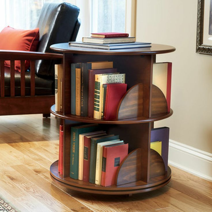 Wood Swivel Bookcase Library Media Stand Storage Shelf Living Room End Table New