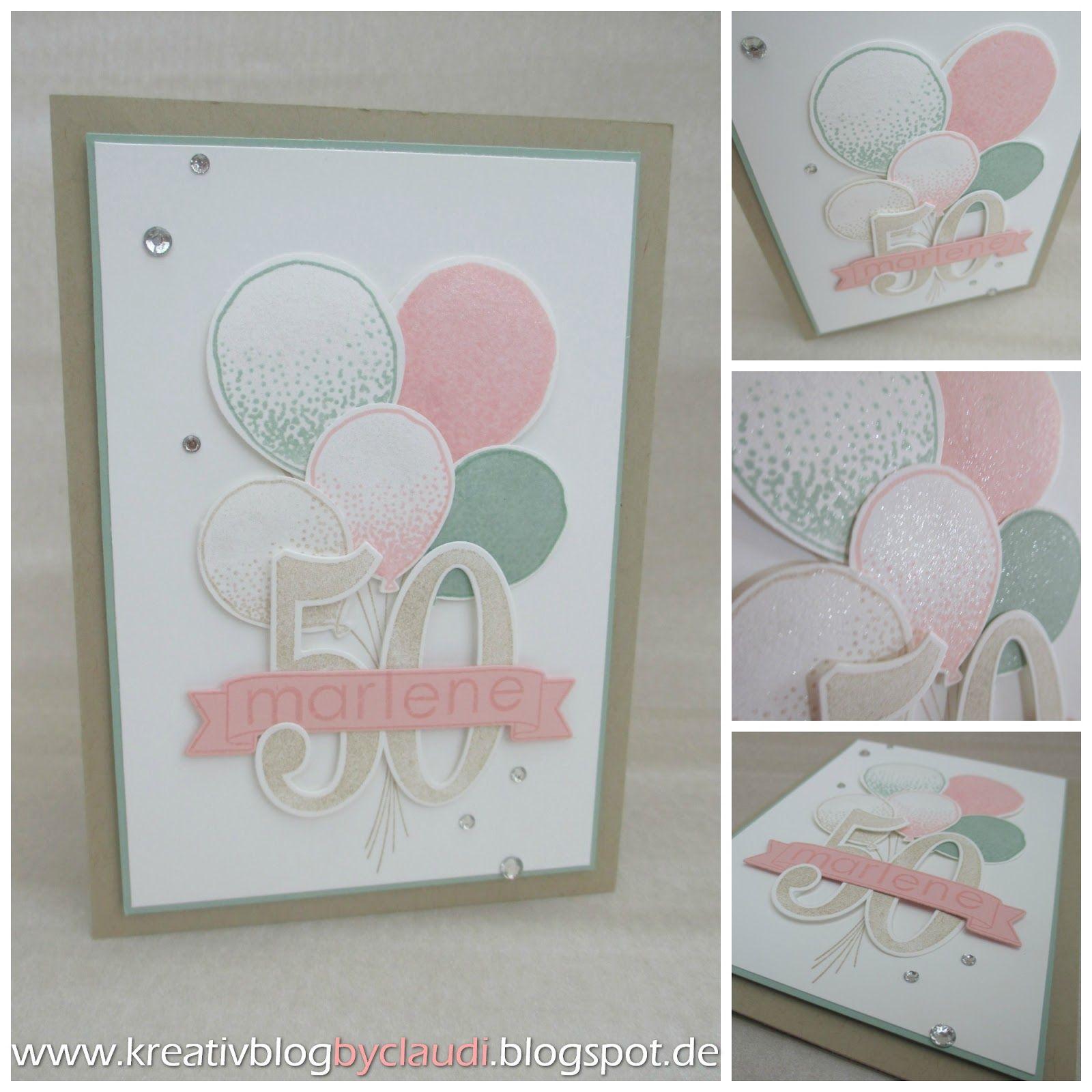 Eine Geburtstagskarte zum 50. mit den Party Ballons in zarten Farben ...