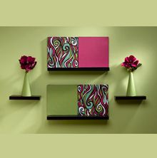 Elegant Green And Maroon Wall Art Part 15
