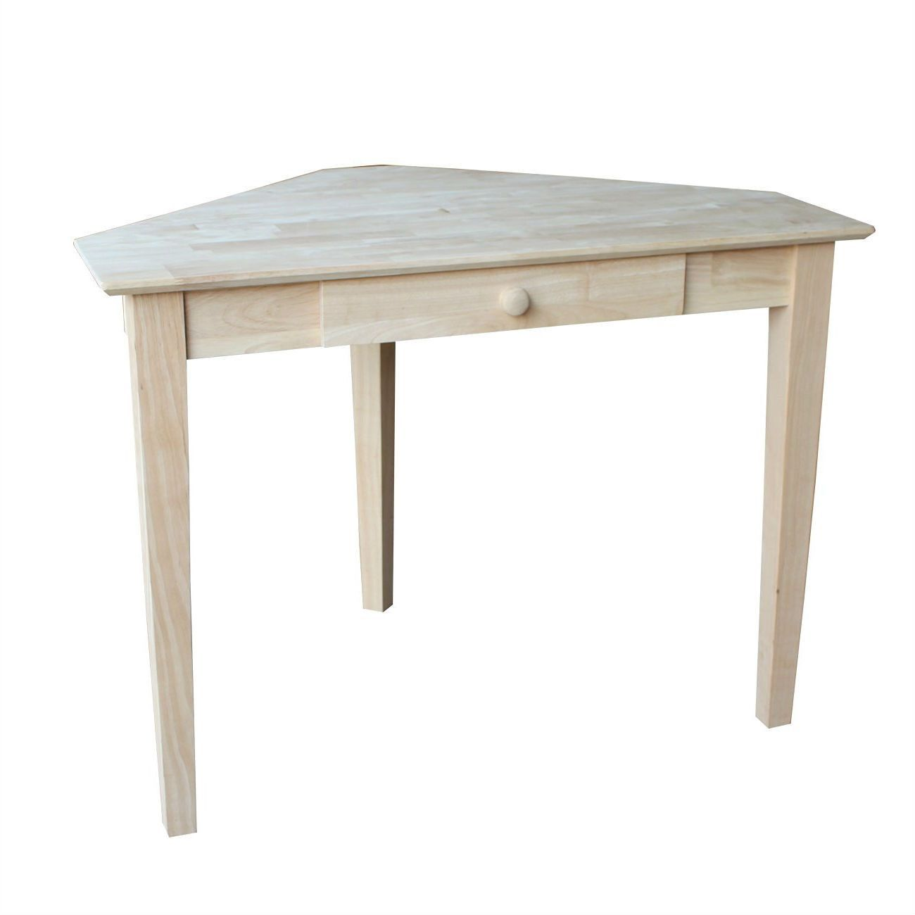 Unfinished wood corner desk laptop computer writing table with
