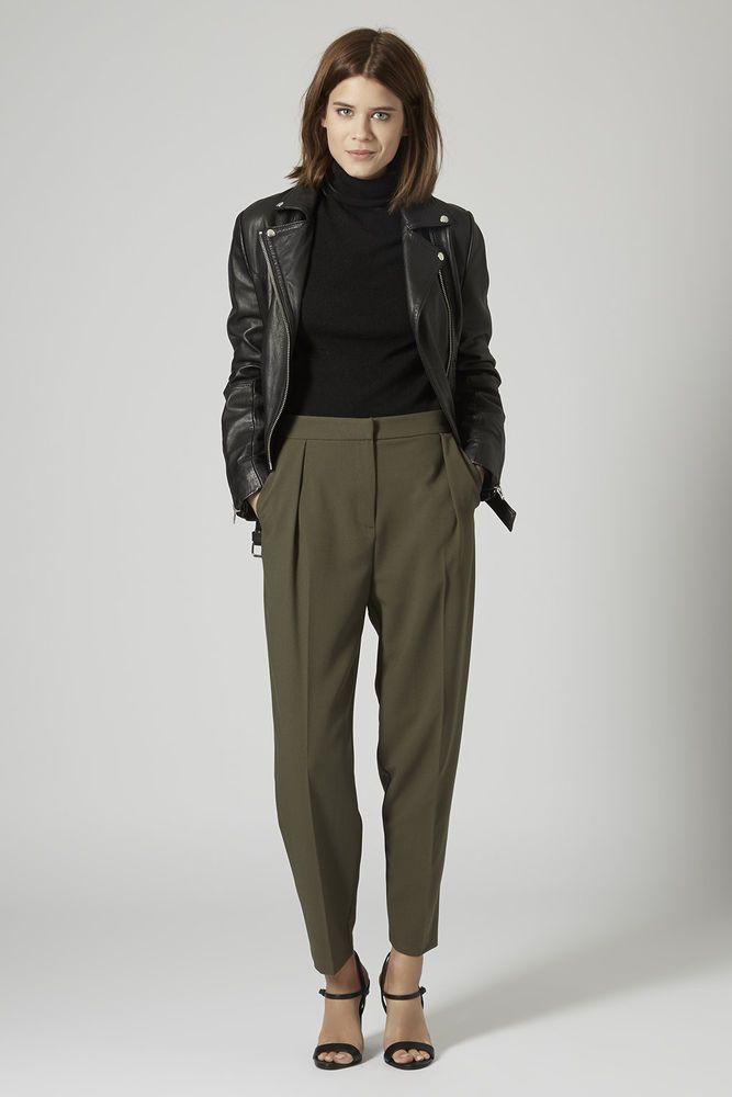 312e96b600c Details about TOPSHOP Women s Natural Petite Crepe Peg Leg Trousers ...