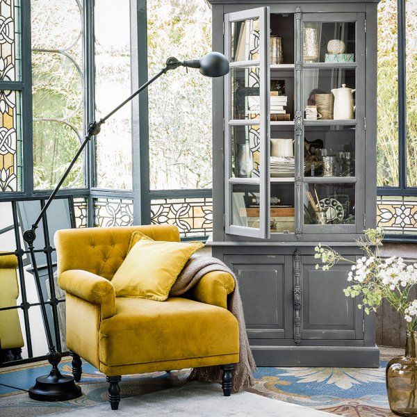 le style brocante ou quand la r cup 39 a du bon fauteuil jaune moutarde fauteuil jaune et. Black Bedroom Furniture Sets. Home Design Ideas
