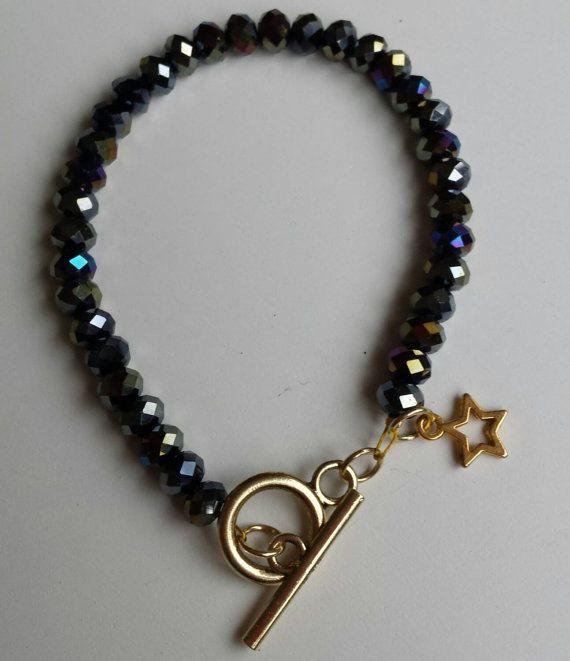 Bekijk dit items in mijn Etsy shop https://www.etsy.com/nl/listing/258959040/mooie-armband-met-zwarte-facet-geslepen