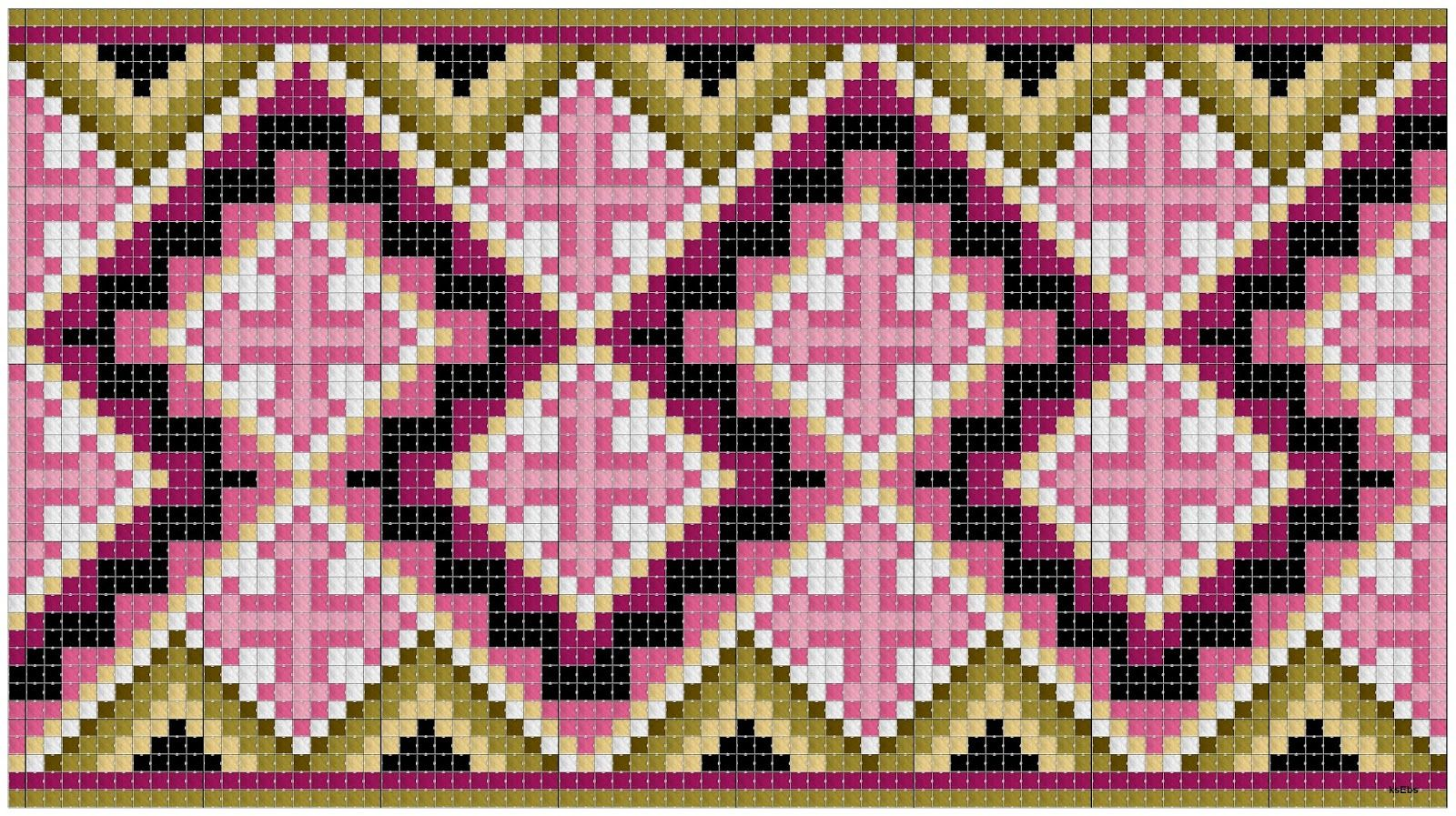 Costume, Bijoux, tissus et rosepainting: Kvarde modèle de point de croix