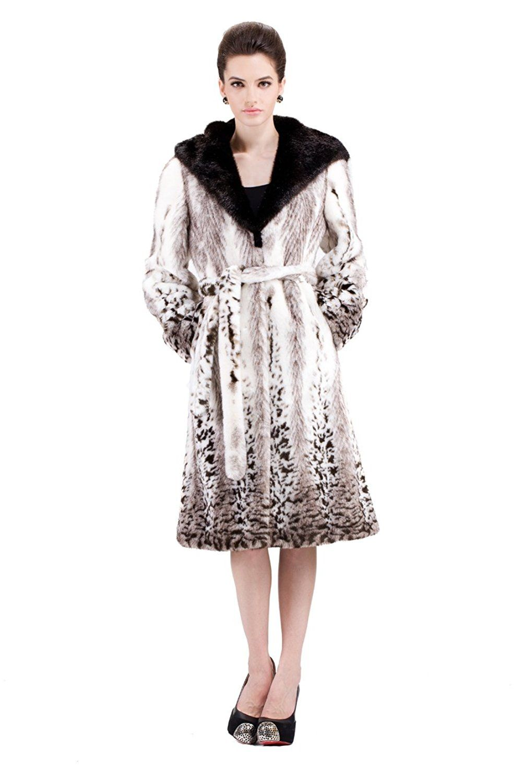 bb0e33d76 Adelaqueen Women's White Mink Faux Fur Coat Full Length with Snow Leopard  Print at Amazon Women's Coats Shop