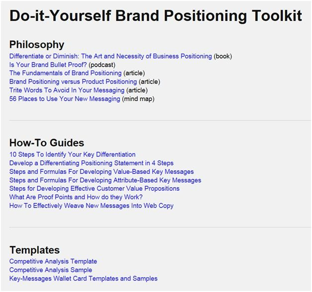 A do-it-yourself brand positioning toolkit with everything needed - competitive analysis sample