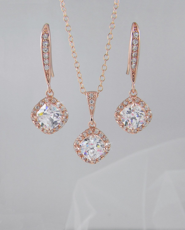 Etsy rose gold bridal jewelry set cushion cut crystals bridesmaid