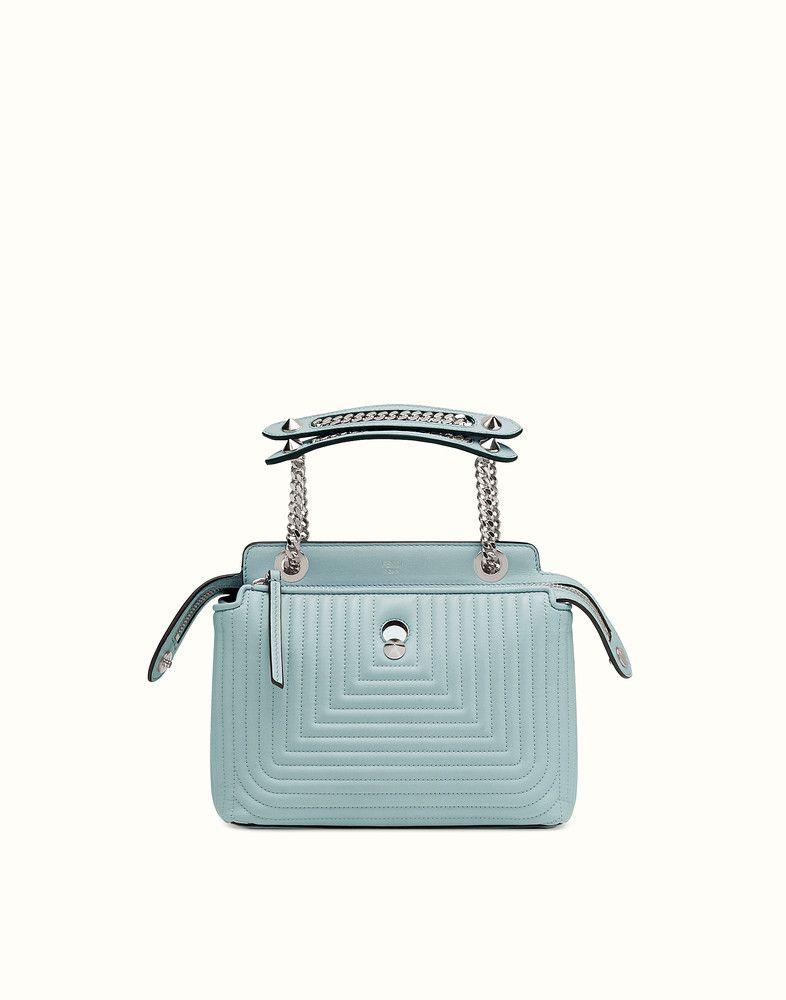 FENDI DOTCOM CLICK - small light blue leather handbag and clutch - view 1  detail 046e47c861