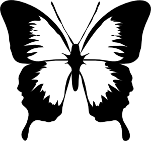 Butterfly outline vector. Black and white tattoos