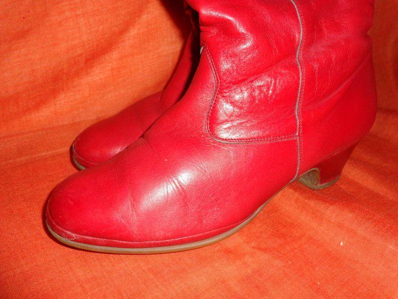 Vintage Stiefel - Stiefel*Vintage*rot*Leder*5*38* - ein Designerstück von SweetSweetVintage bei DaWanda