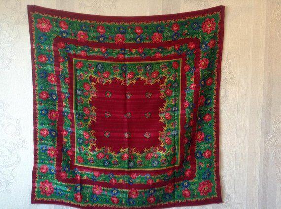 vasta selezione di af8f4 fcec1 Antico lana scialle russo sciarpa belli colori rari! stato ...