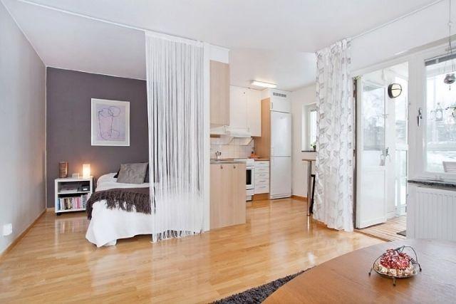 wohnbereich schlafzimmer abgrenzen einzimmerwohnung ideen | first, Schlafzimmer