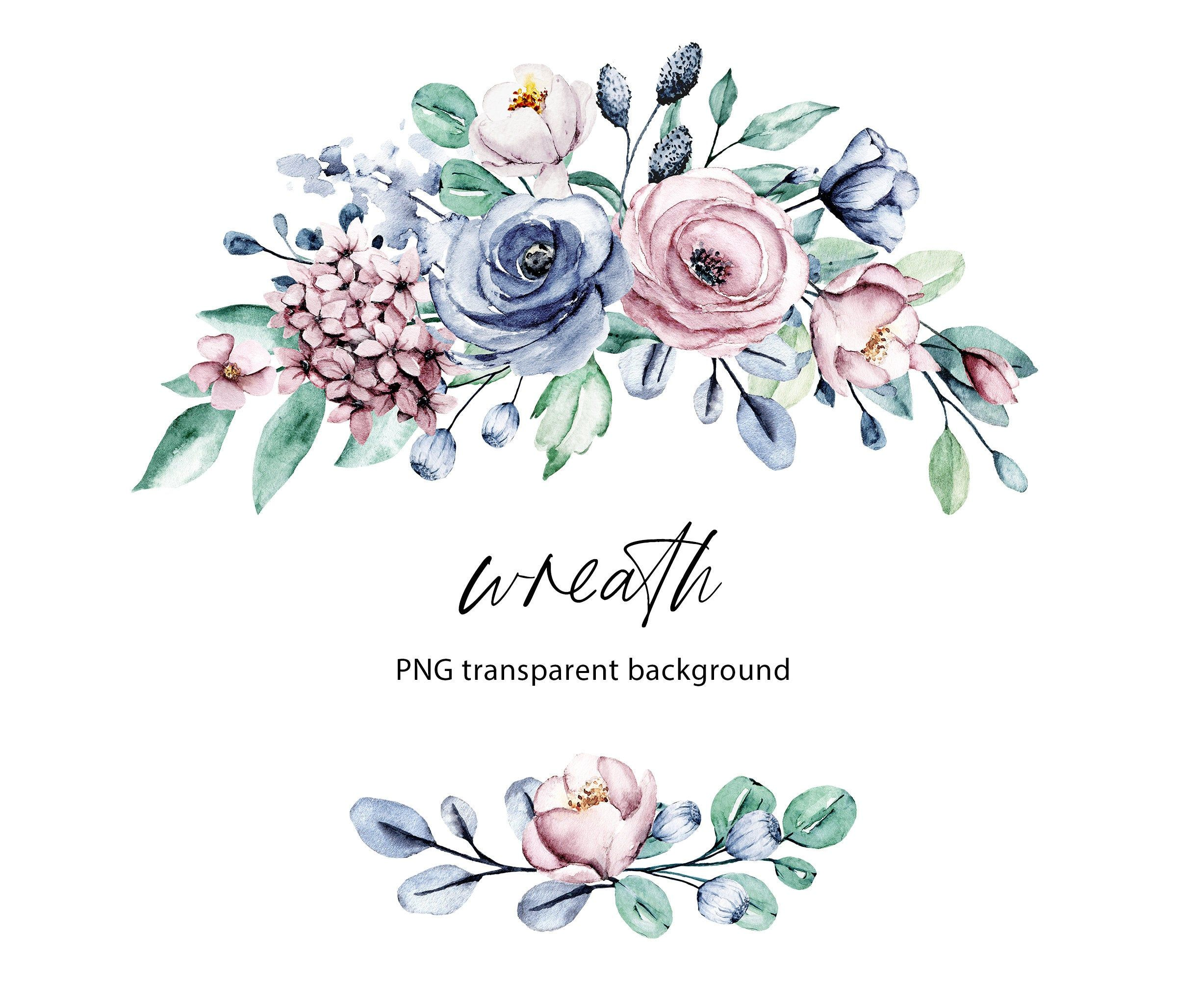 Watercolor Flowers Clipart Floral Frame With Dusty Pink And Etsy In 2021 Watercolor Flowers Clip Art Blue Roses