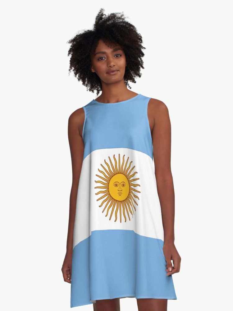 Flag Of Argentina Millions Of Unique Designs By Independent Artists Find Your Thing A Line Dress Argentina Flag Womens Chiffon Tops