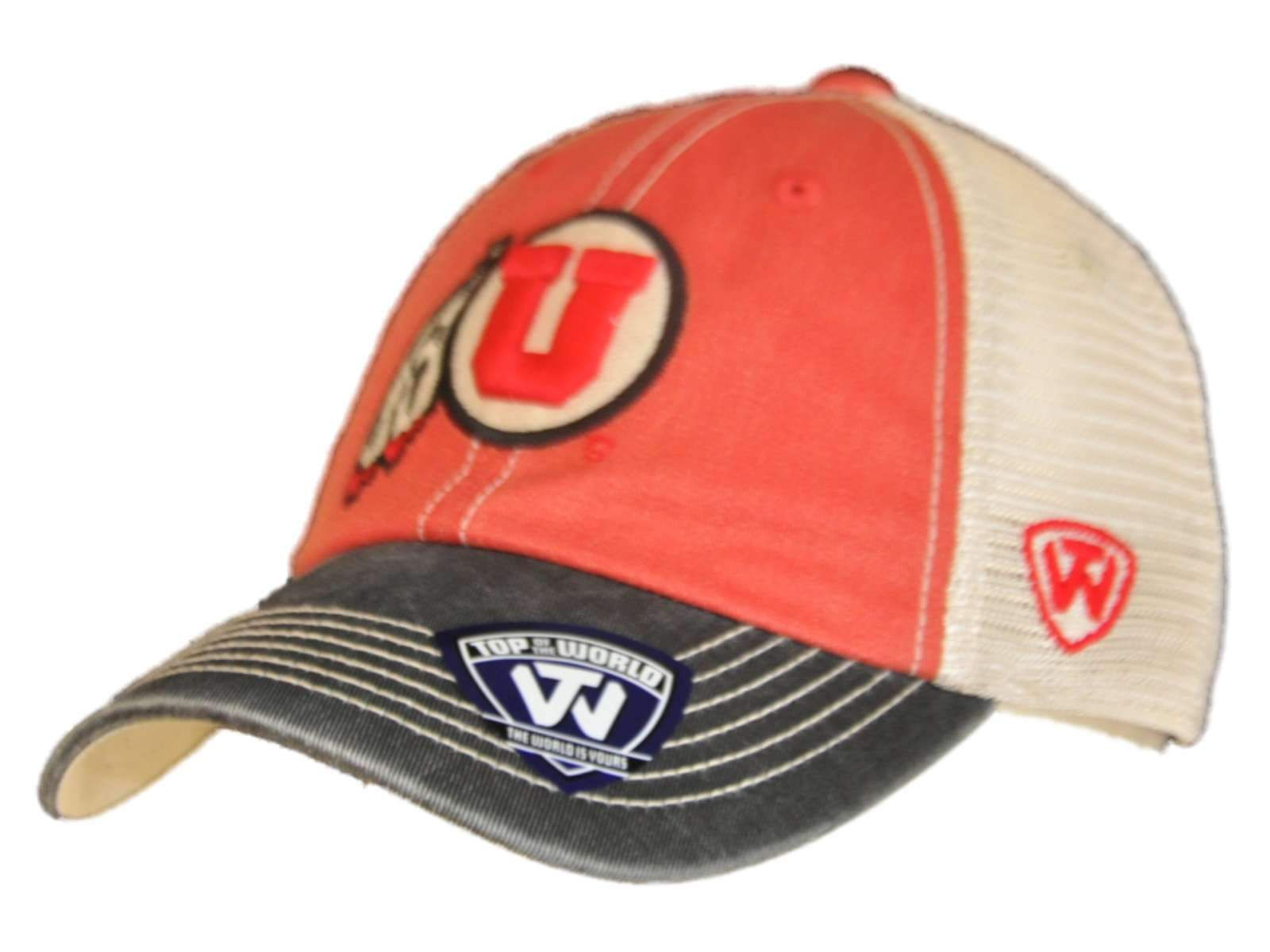 4de398e708f Utah Utes Top of the World Red Black Offroad Adj Snapback Hat Cap in ...