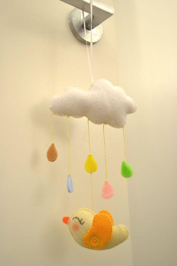 Felt Lovely colourful rain and bird mobile for door by TheMemis, $35.00