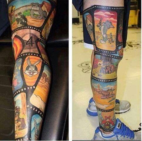 Looney Toons Leg Tattoo Cartoon Character Tattoos Cartoon Tattoos Geek Tattoo
